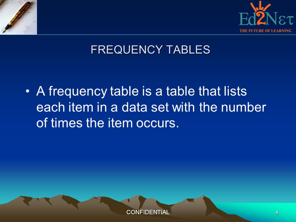 FREQUENCY TABLES A frequency table is a table that lists each item in a data set with the number of times the item occurs.