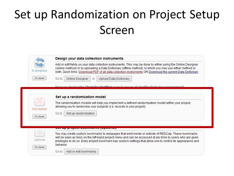 Set up Randomization on Project Setup Screen
