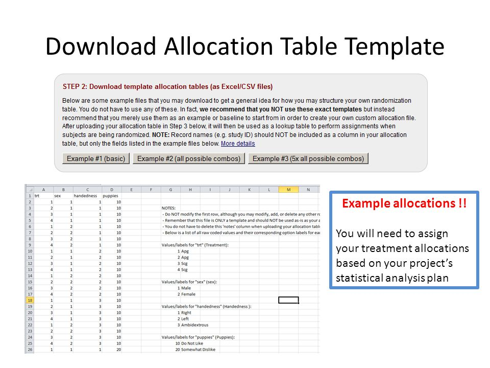 Download Allocation Table Template