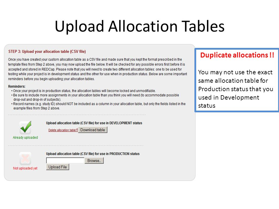 Upload Allocation Tables