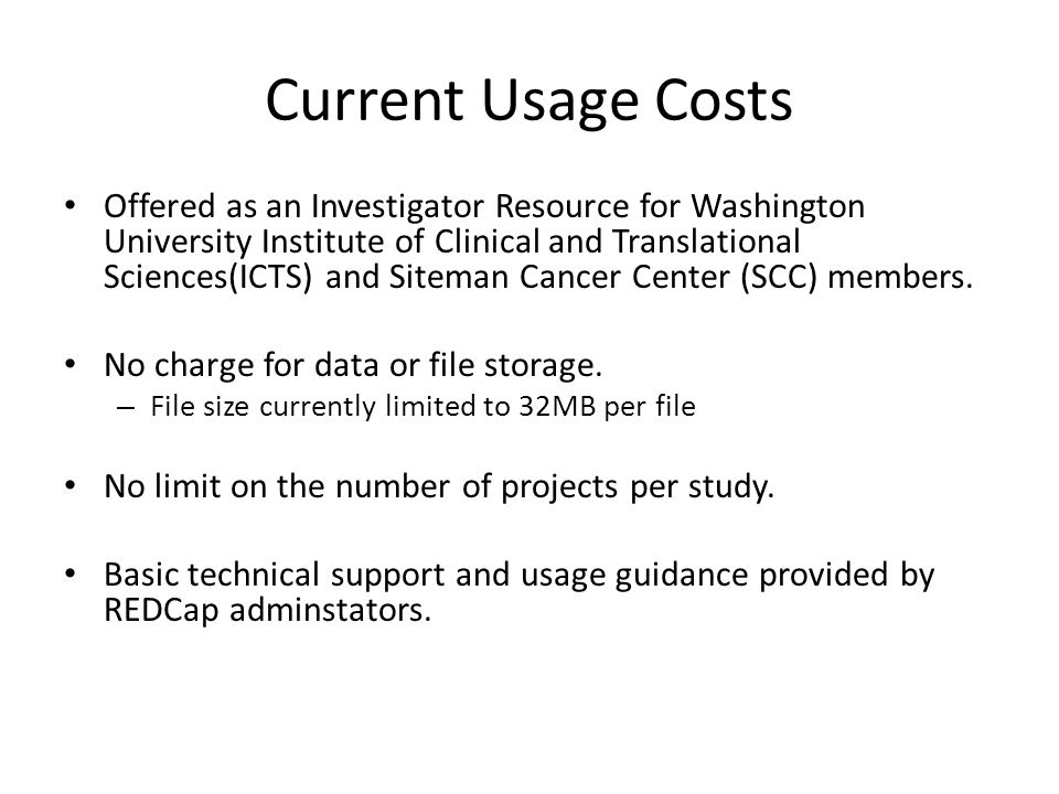 Current Usage Costs