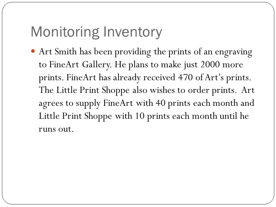 Monitoring Inventory