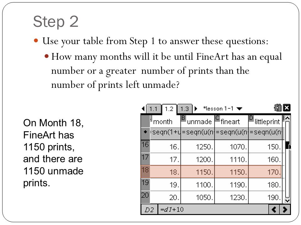 Step 2 Use your table from Step 1 to answer these questions: