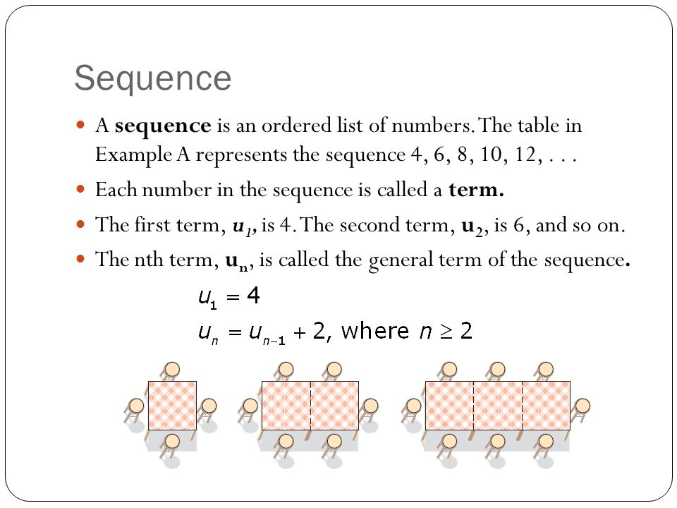 Sequence A sequence is an ordered list of numbers. The table in Example A represents the sequence 4, 6, 8, 10, 12,