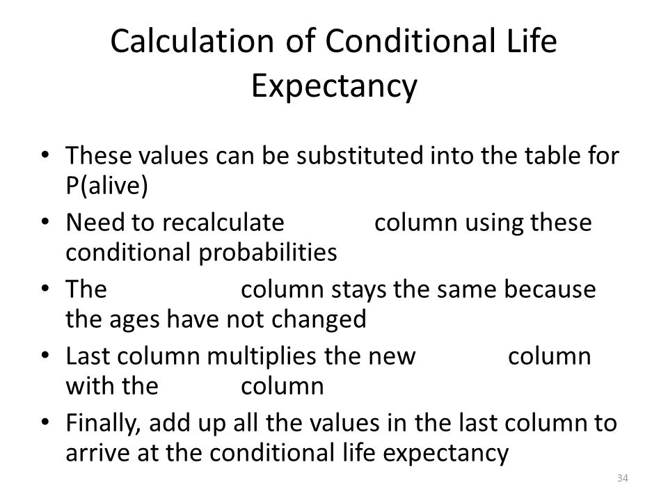 Calculation of Conditional Life Expectancy