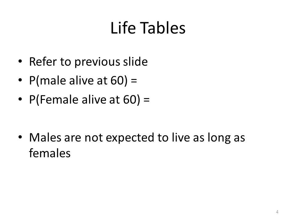 Life Tables Refer to previous slide P(male alive at 60) =