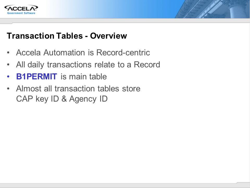 Transaction Tables - Overview