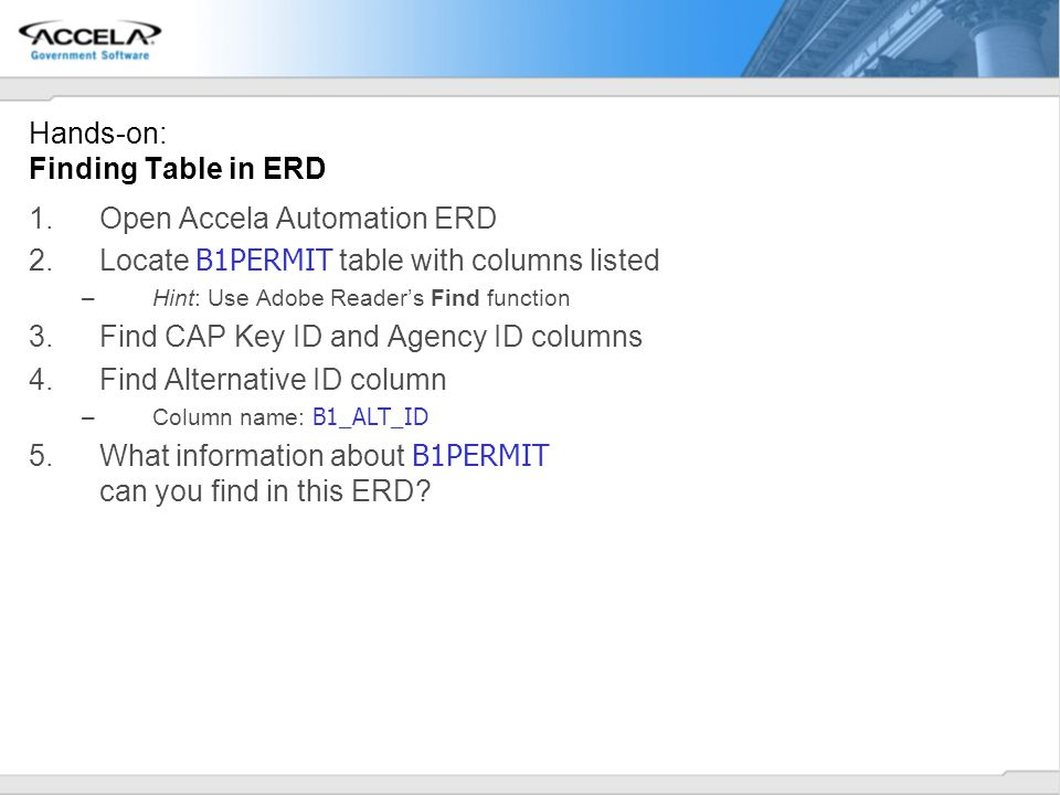 Hands-on: Finding Table in ERD