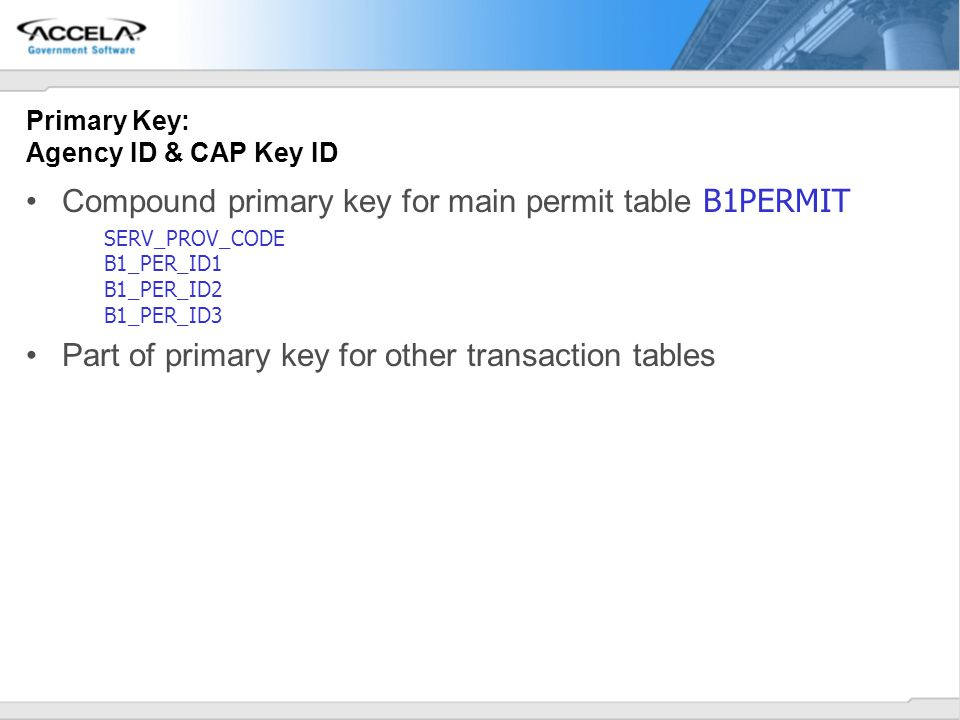 Primary Key: Agency ID & CAP Key ID
