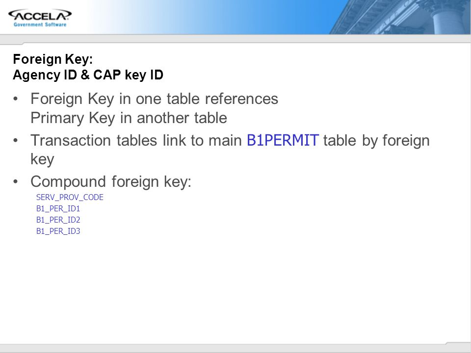 Foreign Key: Agency ID & CAP key ID