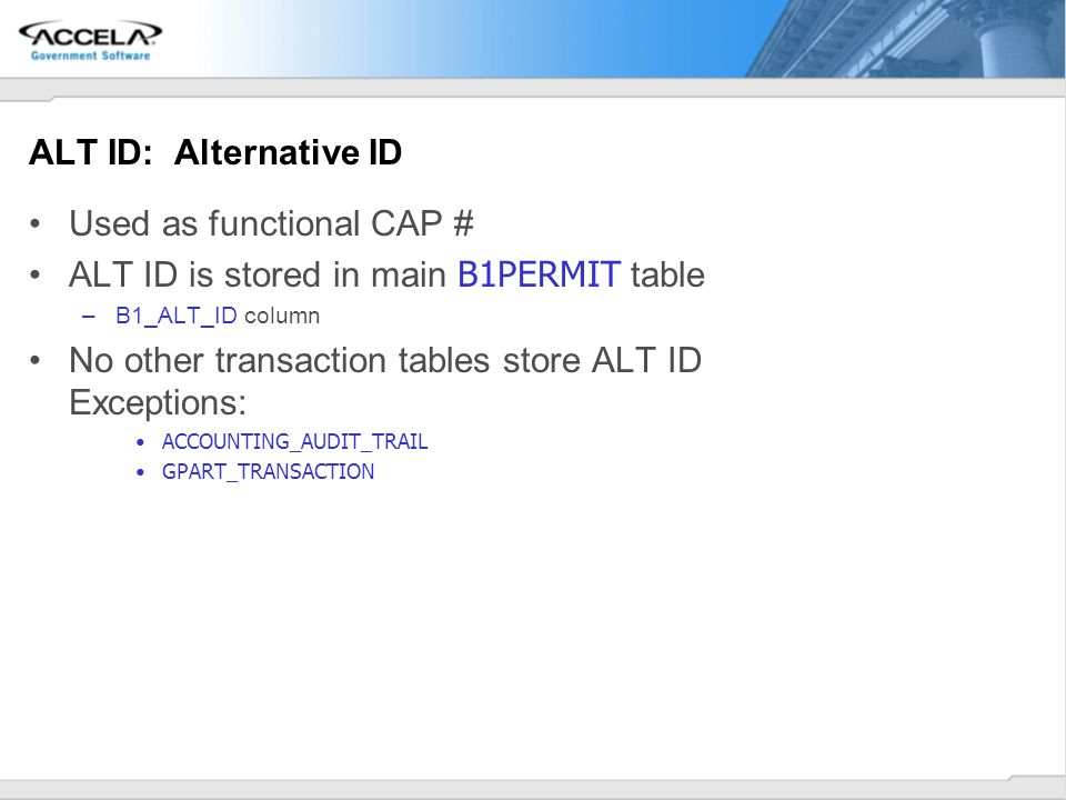 Used as functional CAP # ALT ID is stored in main B1PERMIT table