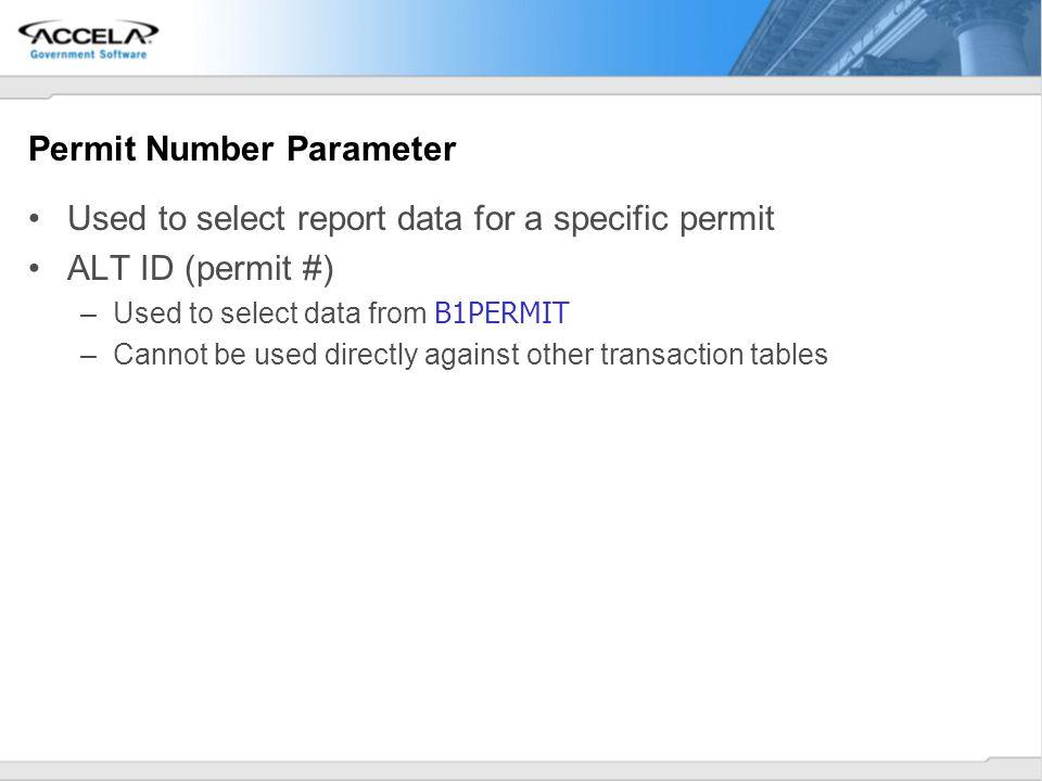 Permit Number Parameter