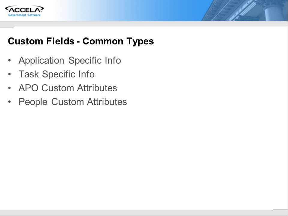 Custom Fields - Common Types