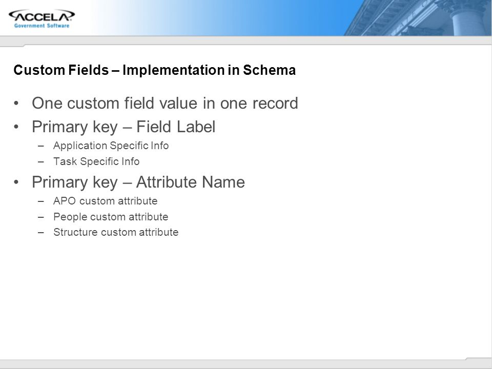 Custom Fields – Implementation in Schema