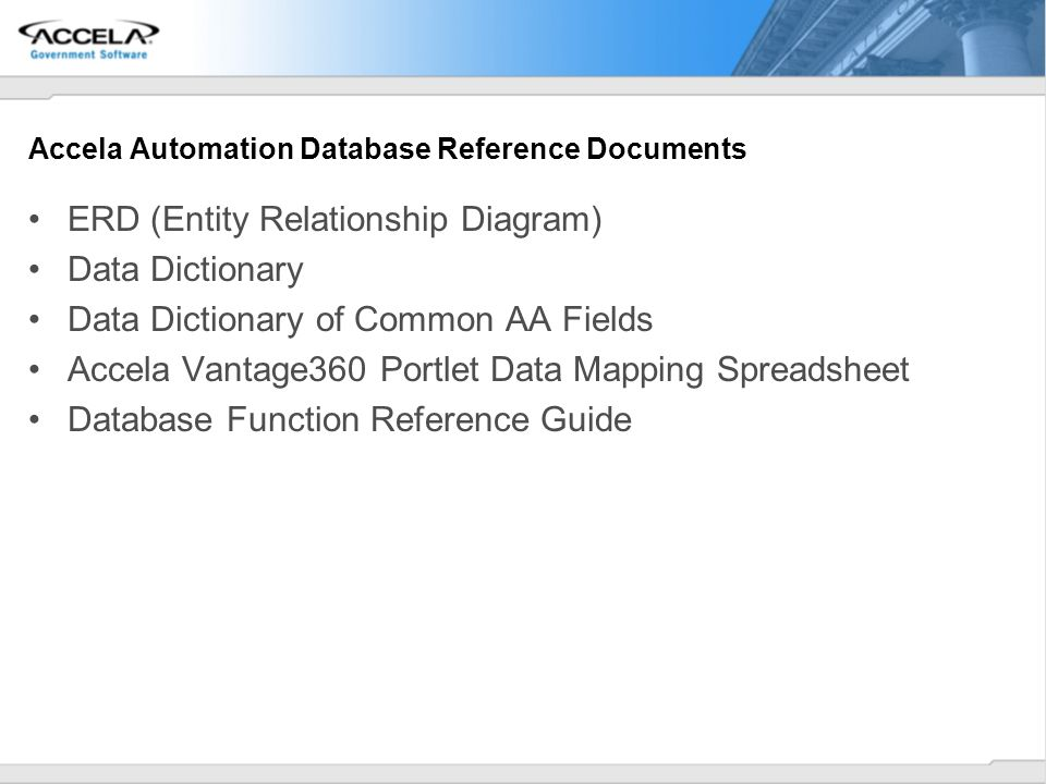 Accela Automation Database Reference Documents