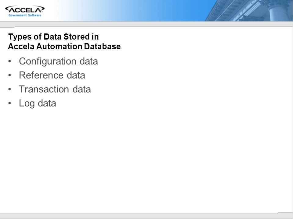 Types of Data Stored in Accela Automation Database