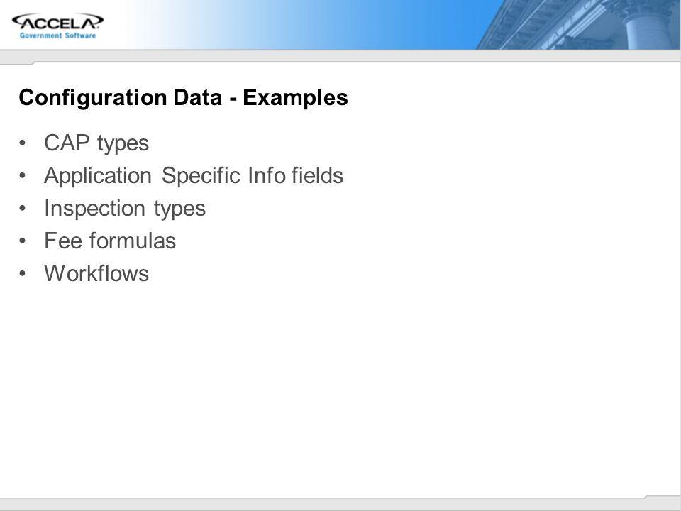Configuration Data - Examples