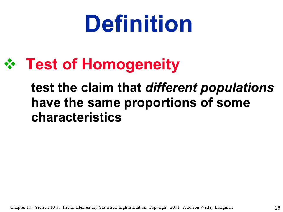 Definition Test of Homogeneity
