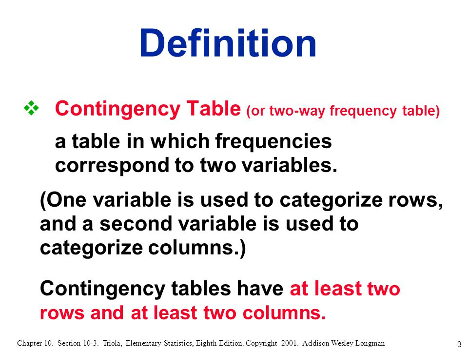 Definition Contingency Table (or two-way frequency table)