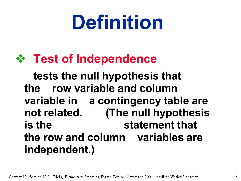 Definition Test of Independence