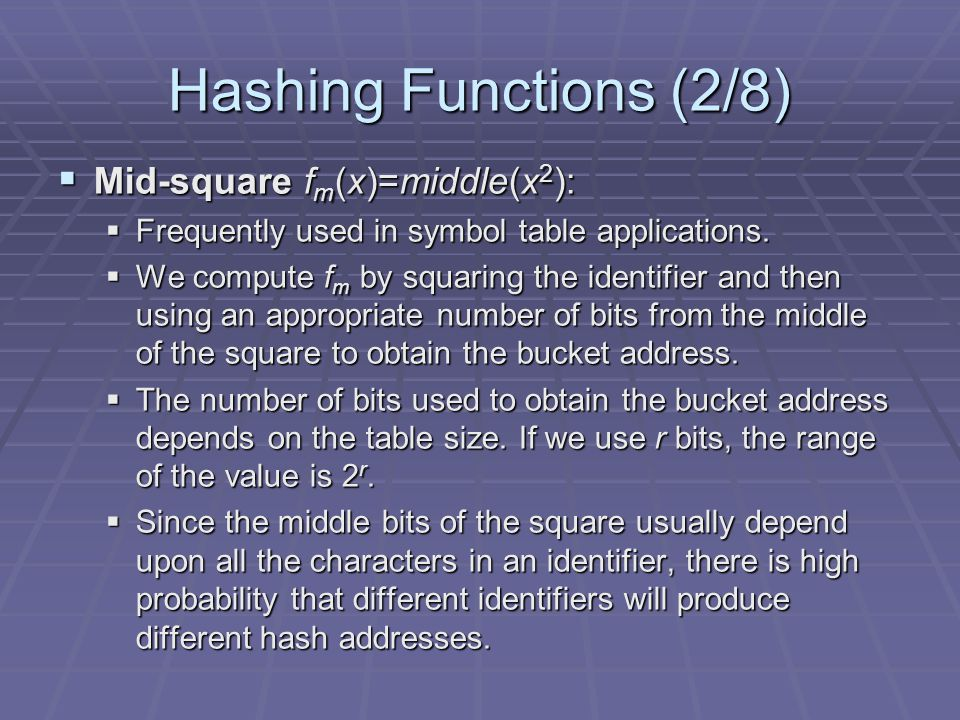 Hashing Functions (2/8) Mid-square fm(x)=middle(x2):