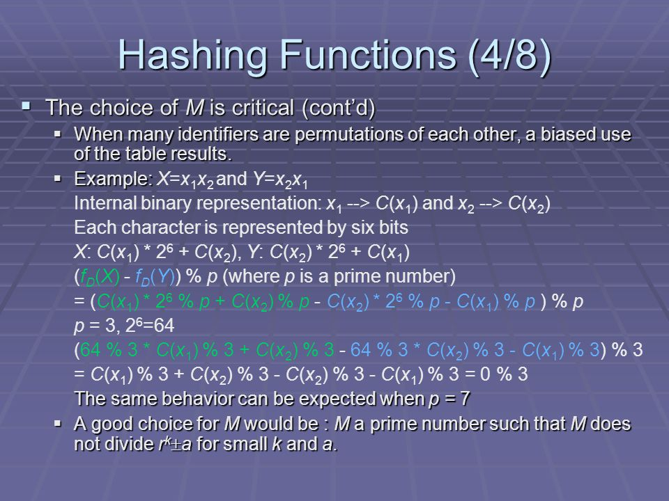 Hashing Functions (4/8) The choice of M is critical (cont'd)
