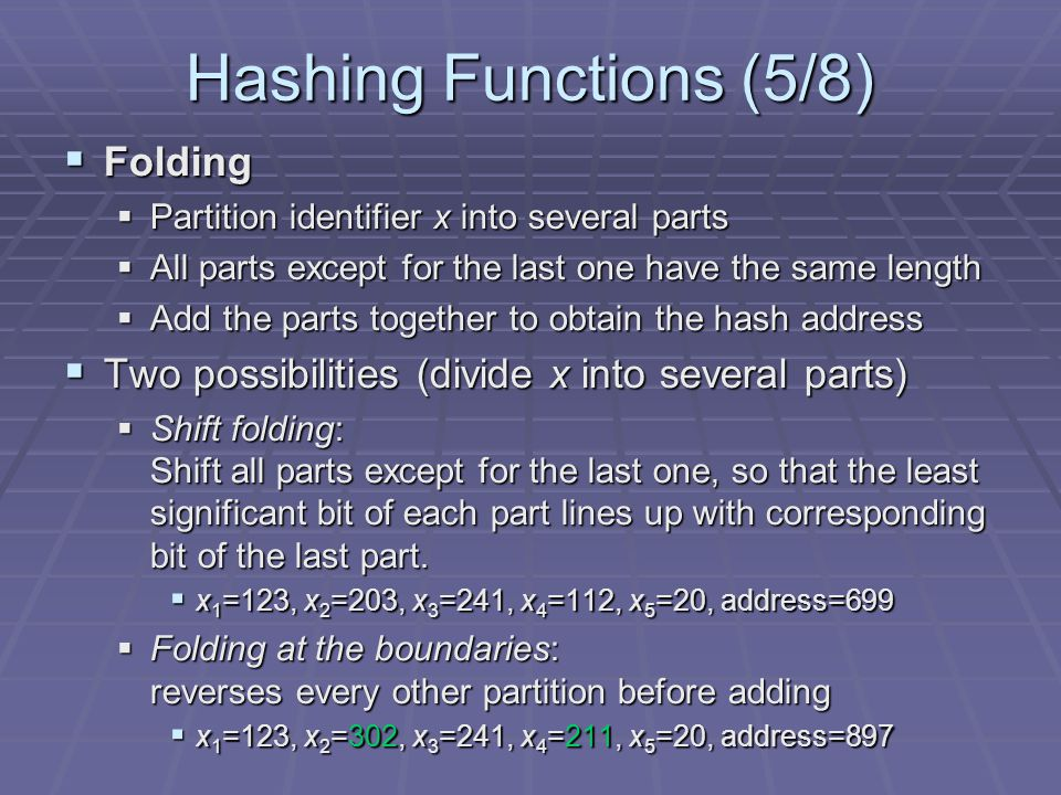 Hashing Functions (5/8) Folding
