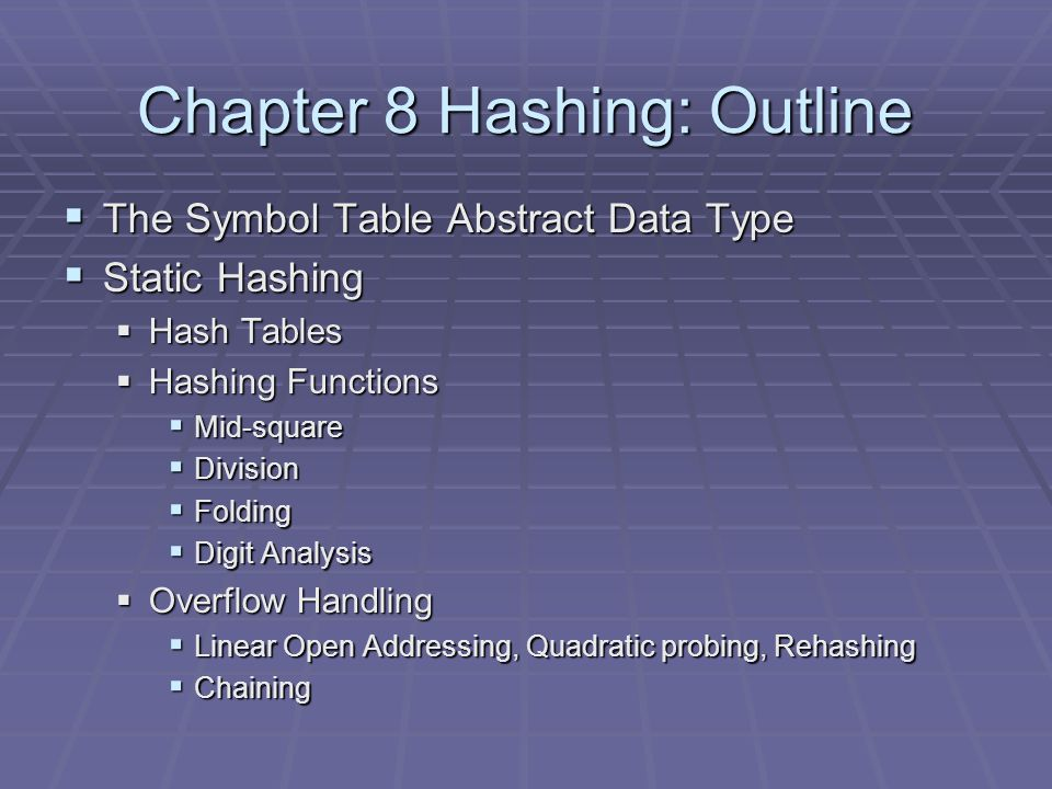 Chapter 8 Hashing: Outline