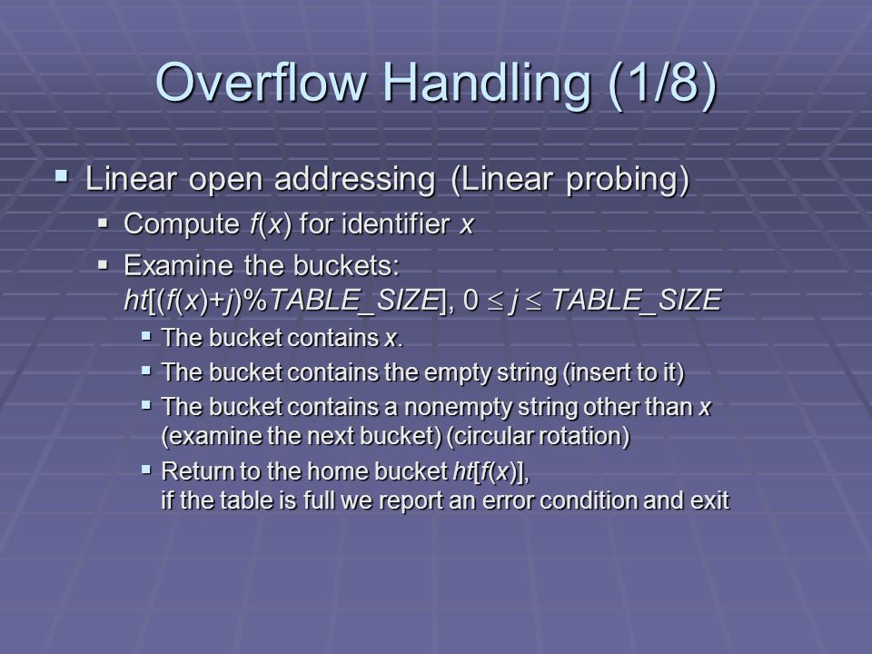 Overflow Handling (1/8) Linear open addressing (Linear probing)
