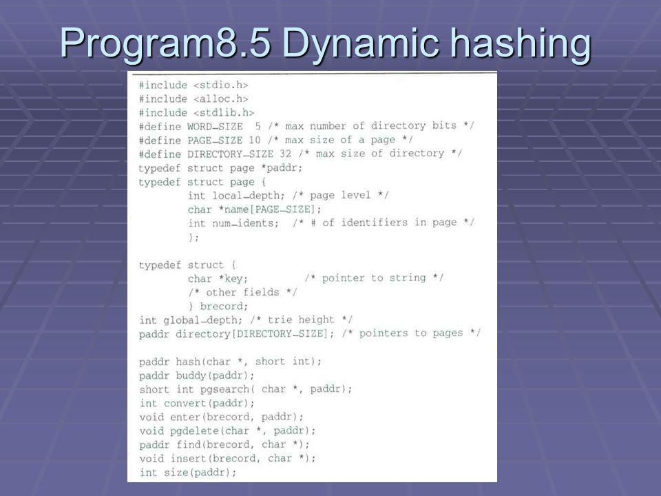 Program8.5 Dynamic hashing