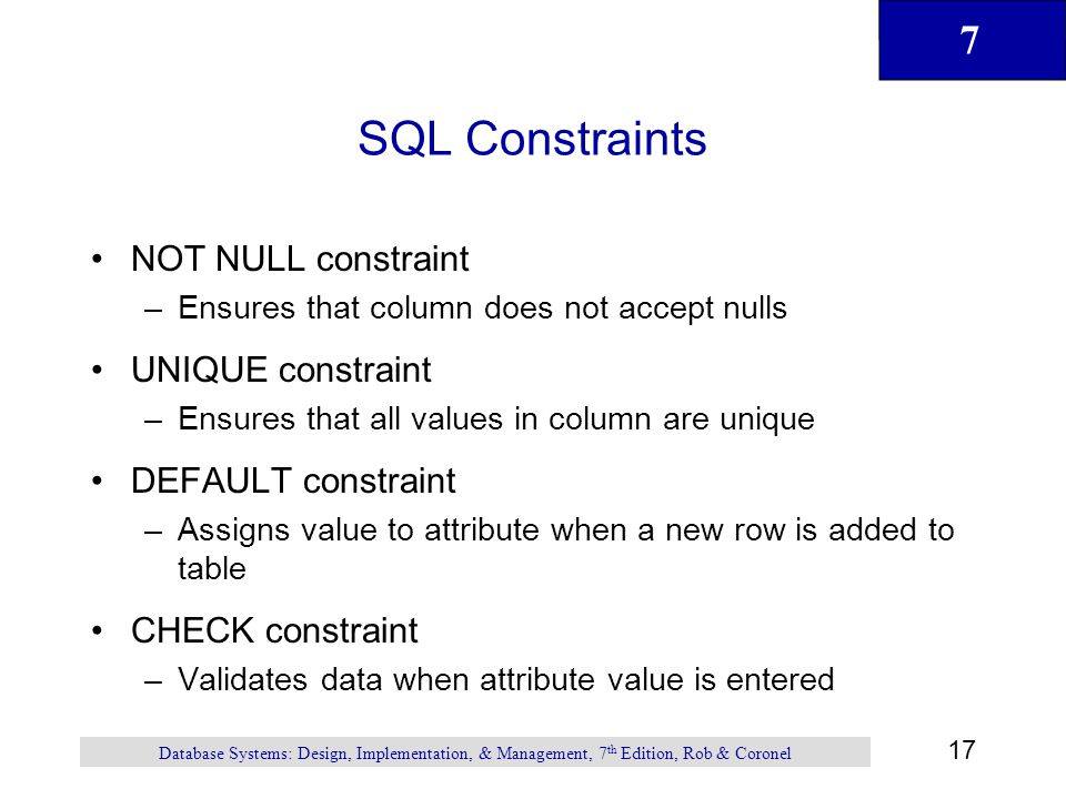 SQL Constraints NOT NULL constraint UNIQUE constraint