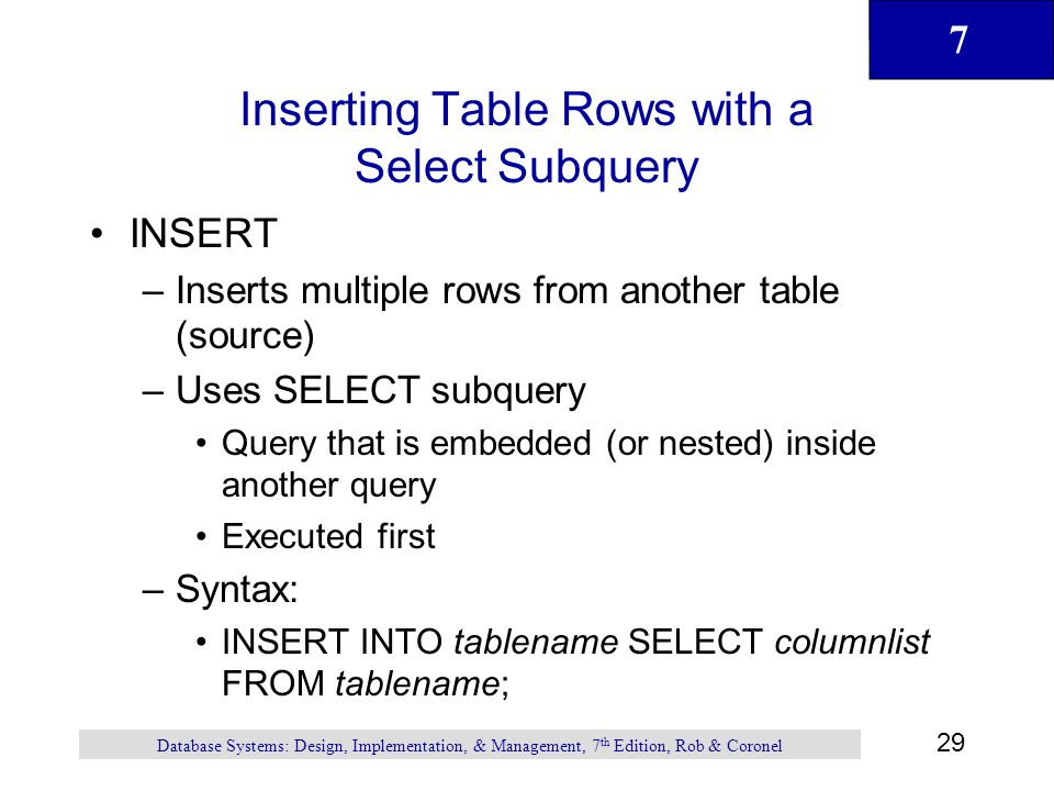 Inserting Table Rows with a Select Subquery