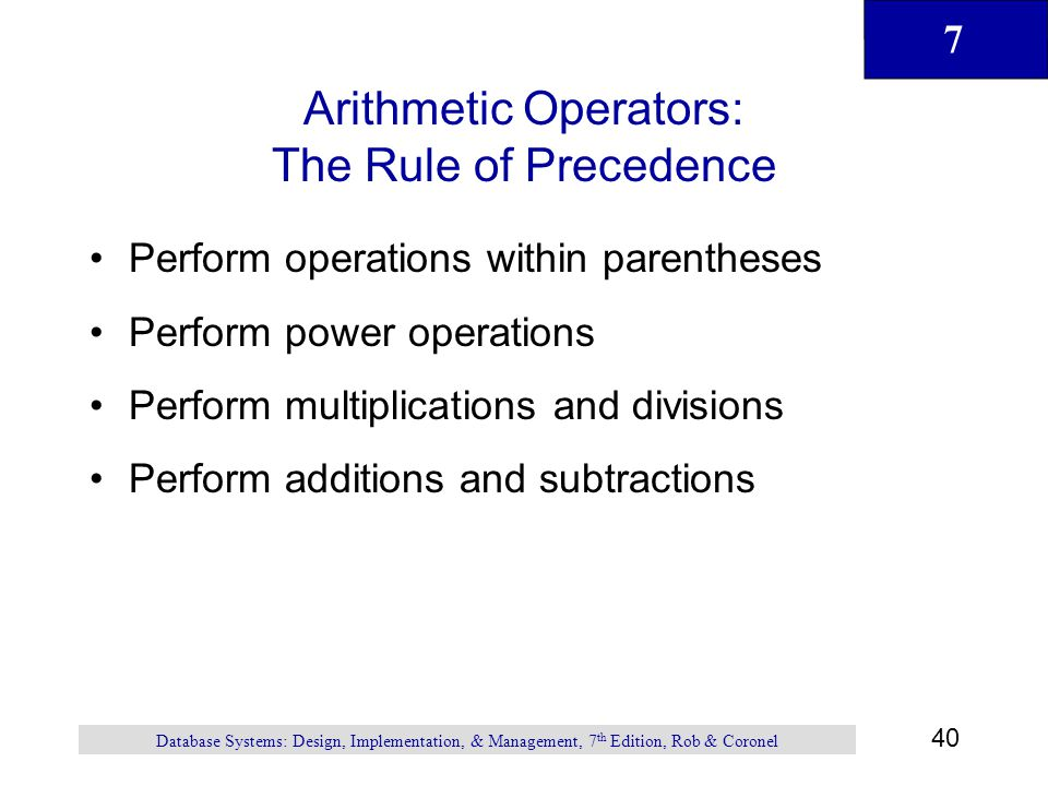 Arithmetic Operators: The Rule of Precedence