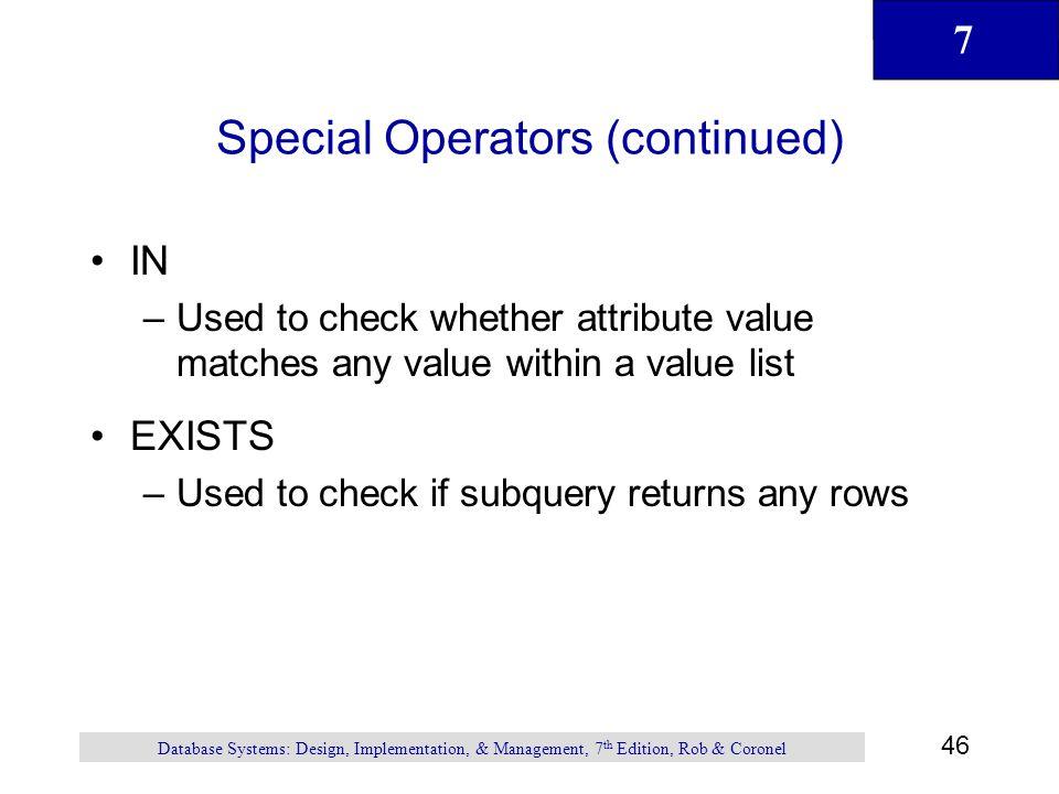 Special Operators (continued)