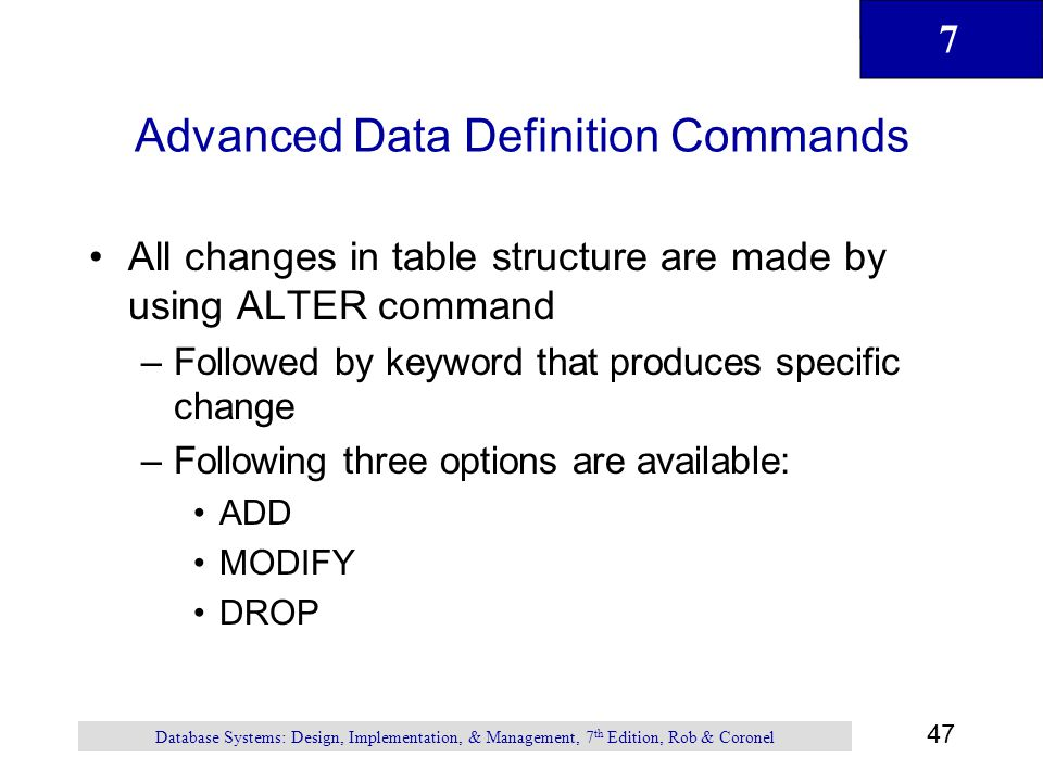 Advanced Data Definition Commands