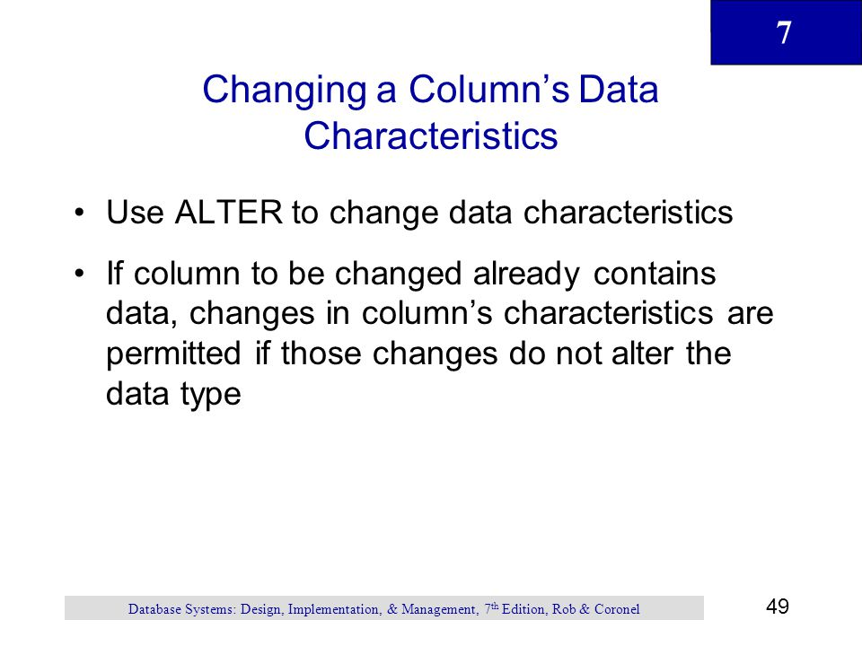 Changing a Column's Data Characteristics