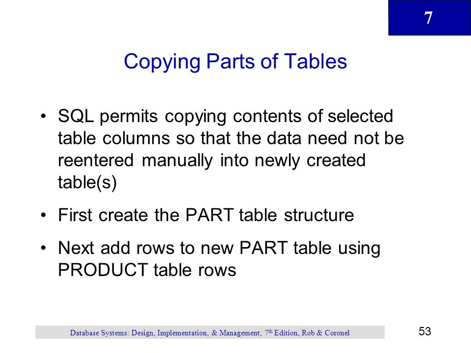 Copying Parts of Tables
