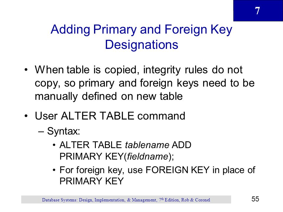 Adding Primary and Foreign Key Designations