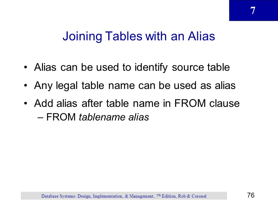 Joining Tables with an Alias