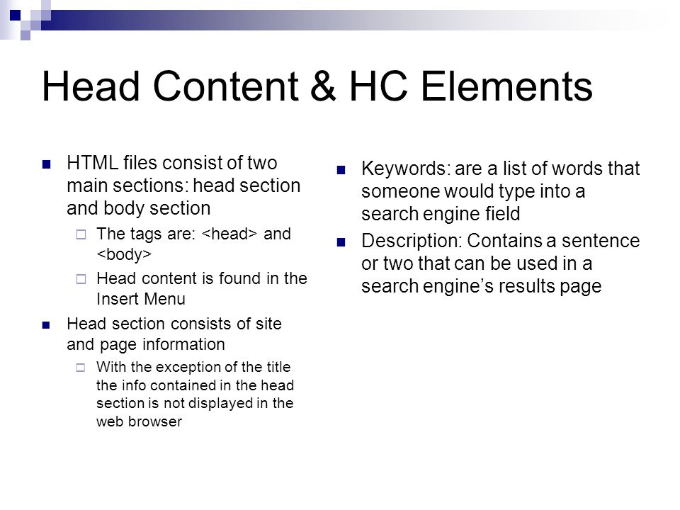 Head Content & HC Elements