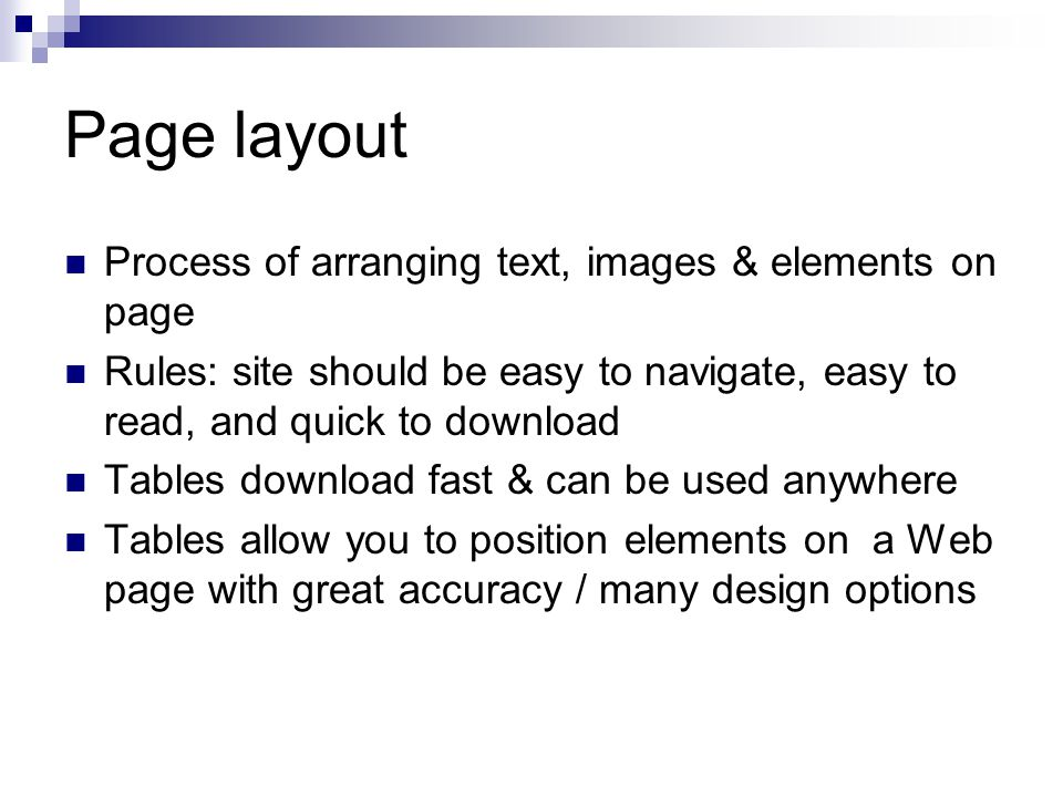 Page layout Process of arranging text, images & elements on page