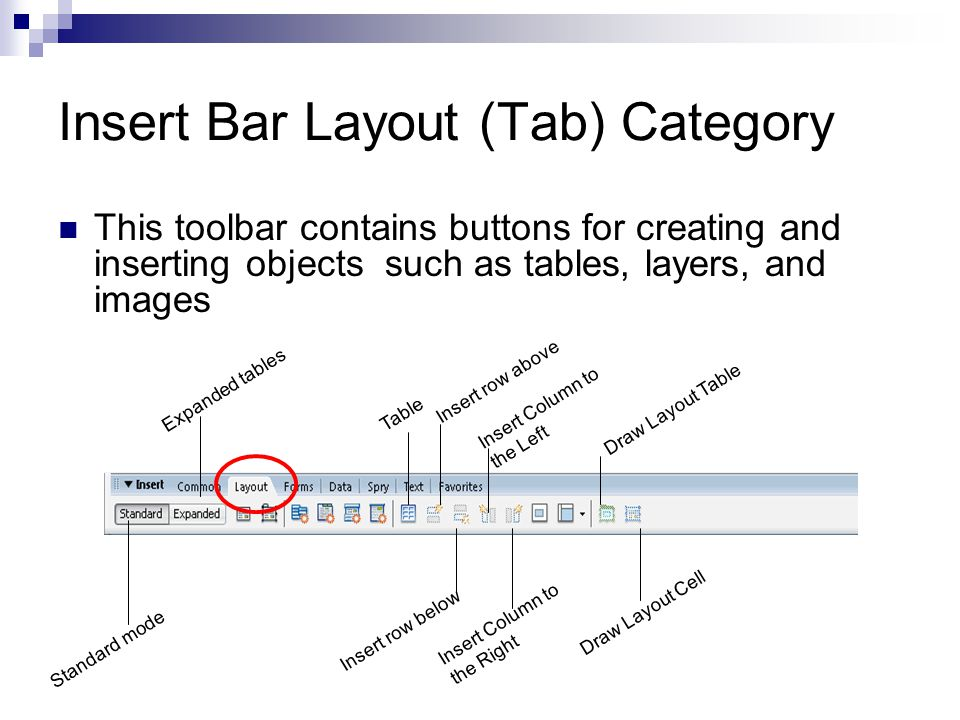 Insert Bar Layout (Tab) Category
