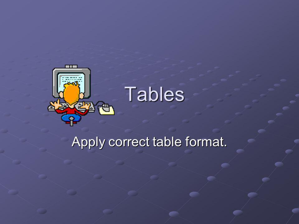 Apply correct table format.