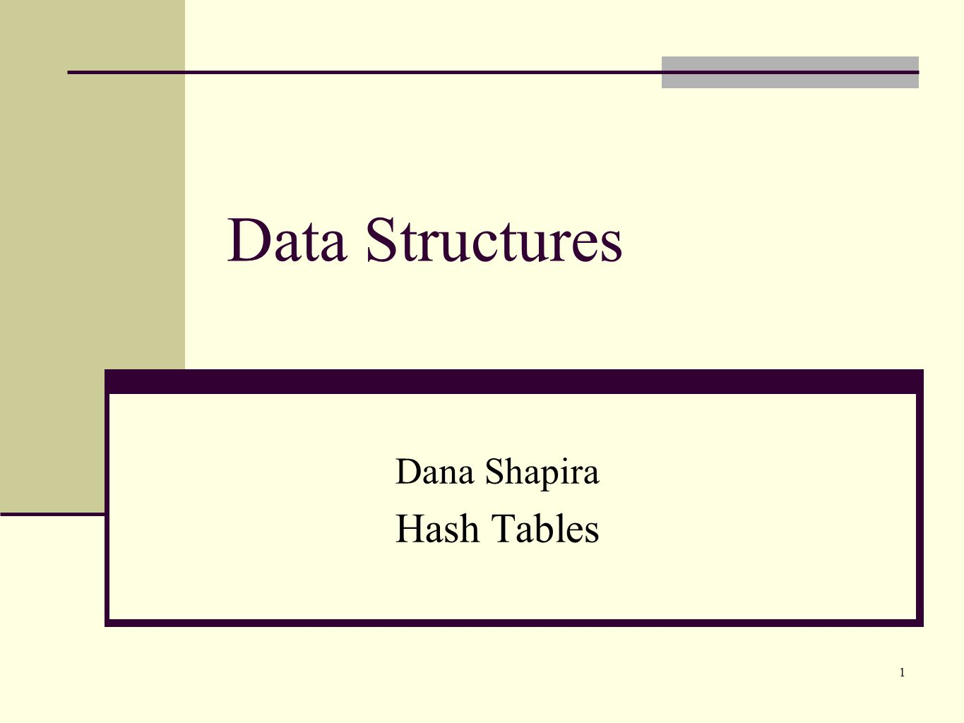 Dana Shapira Hash Tables