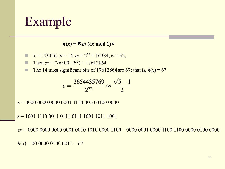 Example h(x) = m (cx mod 1)