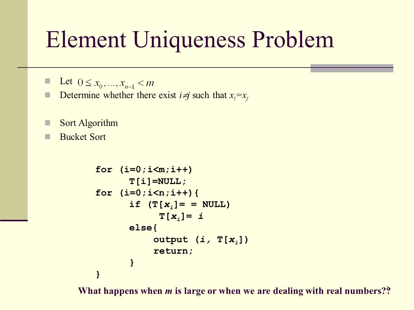 Element Uniqueness Problem