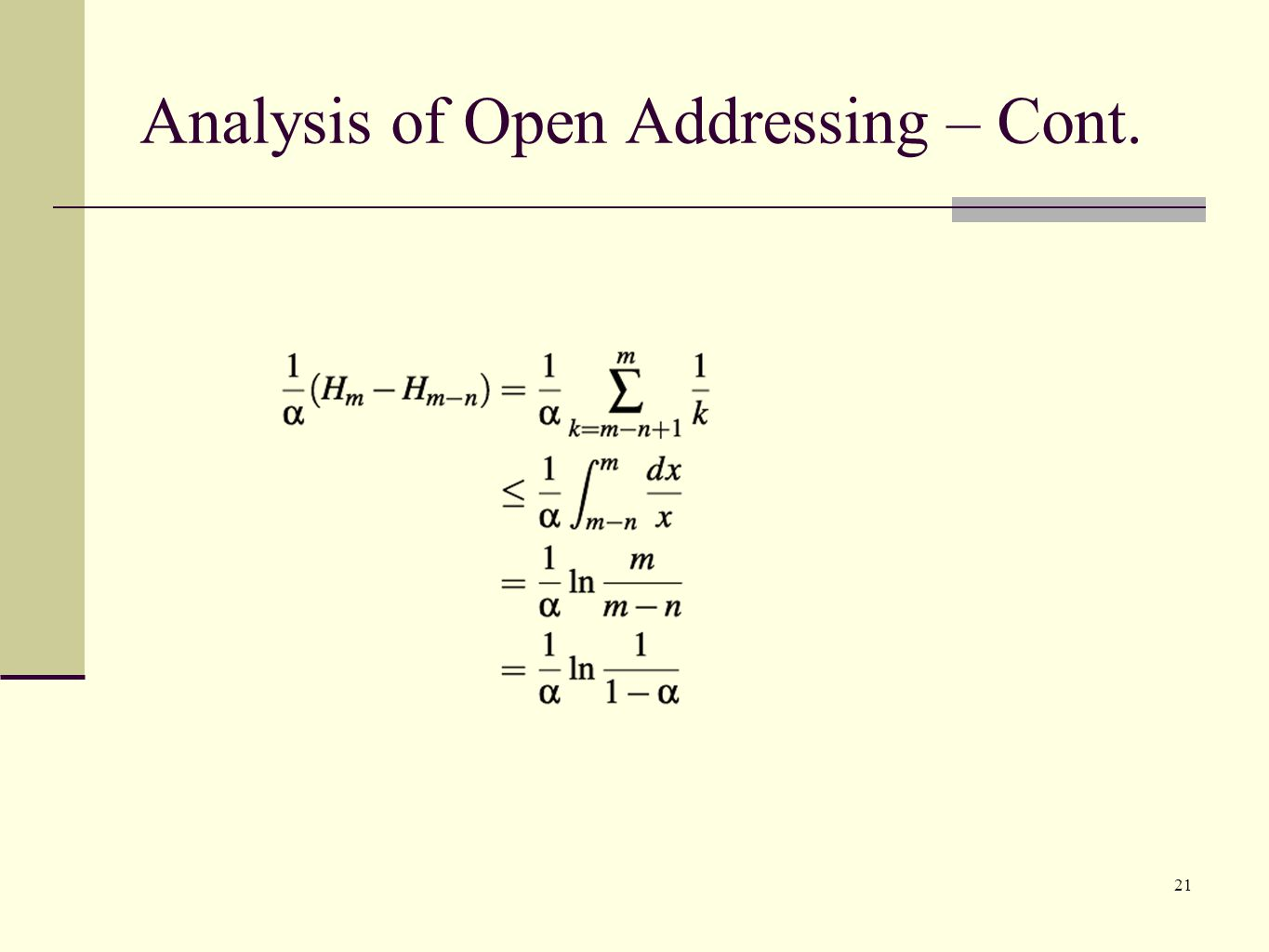 Analysis of Open Addressing – Cont.