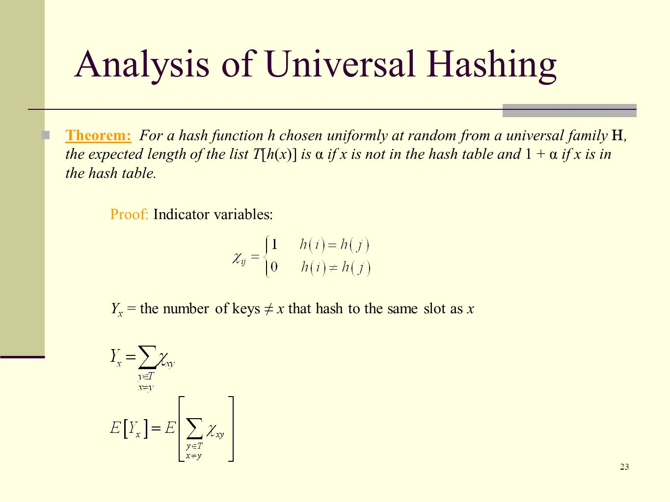 Analysis of Universal Hashing