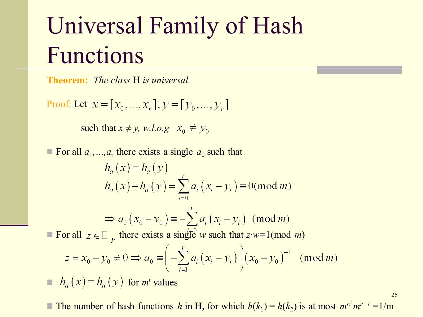 Universal Family of Hash Functions