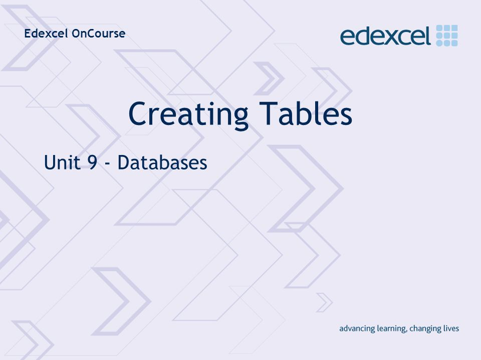 Creating Tables Unit 9 - Databases